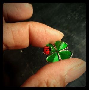 Twice the Luck Ladybug 4 Leaf Clover Charm
